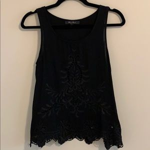Honey Punch Black Sleeveless Embroidered Blouse